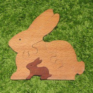 деревянные игрушки пазлы зайчики