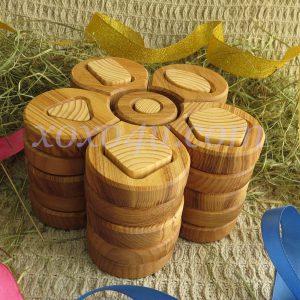 деревянная пирамидка сортер ромашка