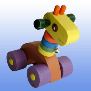 Игрушка каталка Жираф фиолетовые колеса