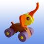 Игрушка каталка Слоненок фиолетовые колеса 2