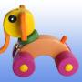 Игрушка каталка Слоник баклажановые колеса 2