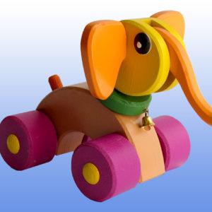 Игрушка каталка Слоник баклажановые колеса