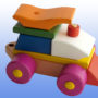 Игрушка поезд с рыжей крышей 4