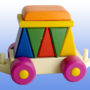 Игрушка поезд с рыжей крышей 5