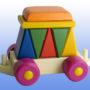 Игрушка поезд с рыжей крышей 7