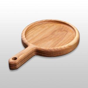 Сервировочная доска для подачи блюд «Сковородка» с ручкой 200х25мм из бука
